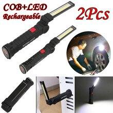 2 pcs 접는 cob 빛 led 마그네틱 토치 빛 유연한 검사 램프 무선 worklight 고품질 cob 손전등