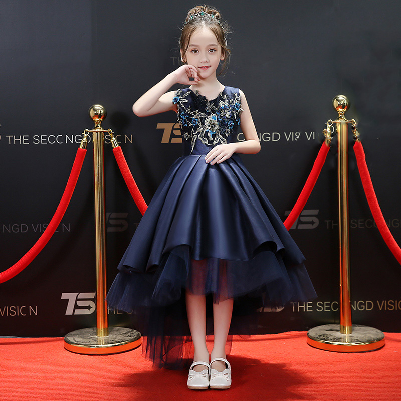 Embroidery Flower Girl Dresses Satin Short Front Long Back Kids Pageant Dress for Birthday Costume Ball Gown Princess Prom Dress