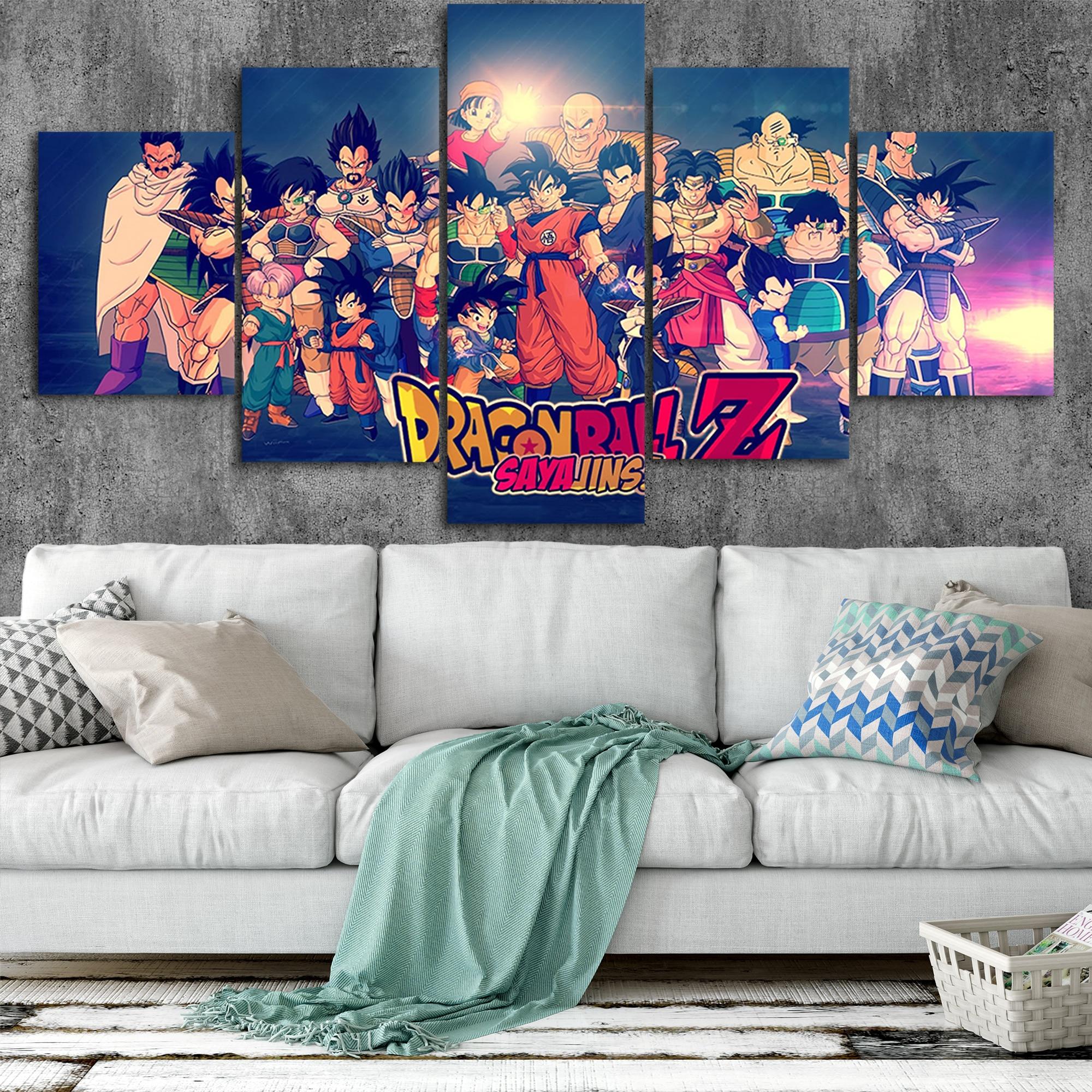 Dragon Ball Z Goku toile affiches décor maison mur Art cadre 5 pièces Style 6 peintures pour salon HD imprime photos