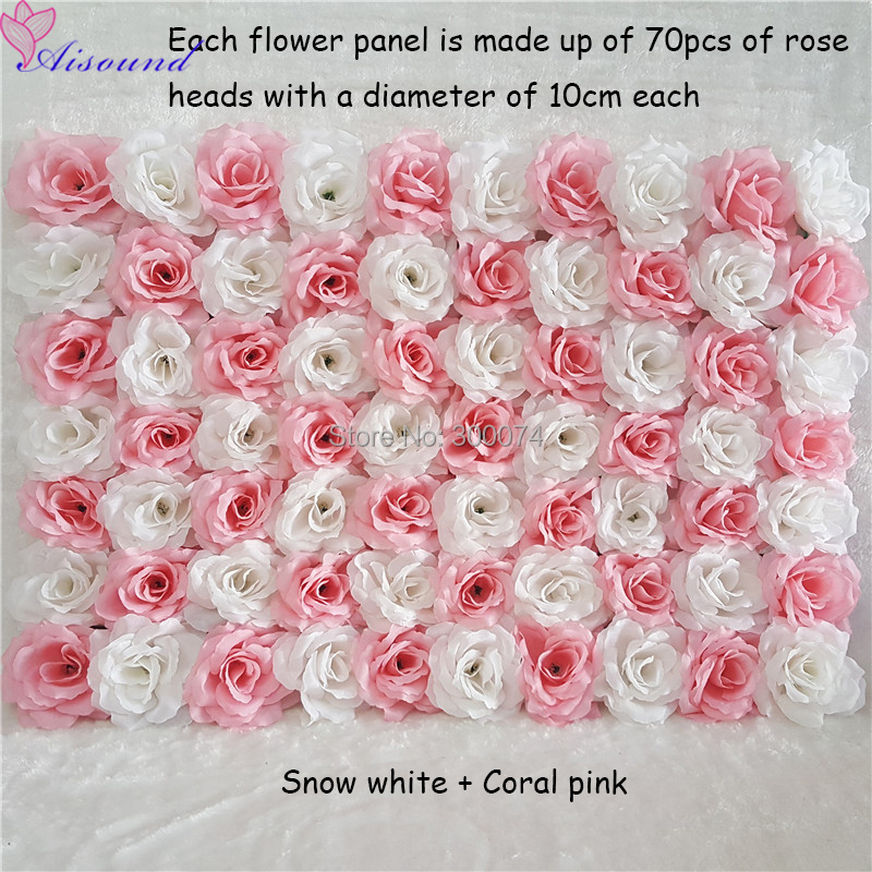 12pcs Silk Flower Wall Event or Festival Artificial Rose Flower Panel For Outdoor Stage Decor Supplies