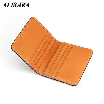 Alisara Men Credit Card Wallet Billfold Women Slim ID Bank/Bus Wallets Canvas And Cowhide Leather Mini Change Purses Pouch фото