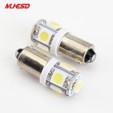 10 pcs BA9S 5 5smd 5led SMD LED Car Indicator Light Interior lâmpadas Wedge Lâmpada BA9S 5SMD 5050 3 chips DC24V Branco azul vermelho cor
