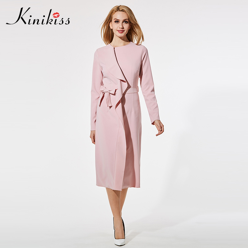 Kinikiss Women Pink Elegant Dress Long Sleeve Bowknot Belt Asymmetric Slim Ruffle Dress 2018 Lady Solid Mid Calf Office Dress