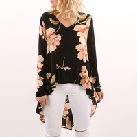Ruffle Hem Front Short Back Long Shirt Blouse For Women Print Floral Long Sleeve V Neck