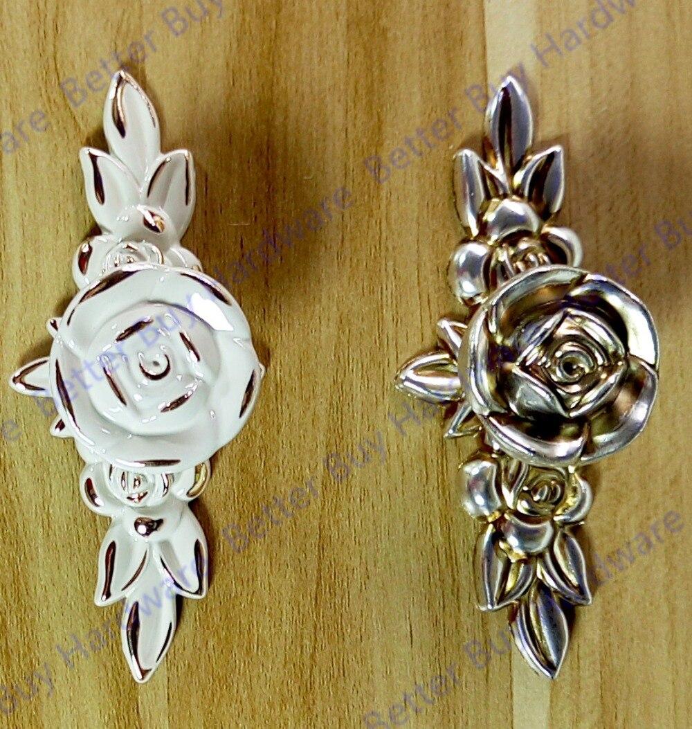 Ivory white European Style Pulls Knobs Cabinet Handles Rose Pattern Closet Cupboard Wardrobe pulls 1pc simple european aluminum alloy ivory white door handles