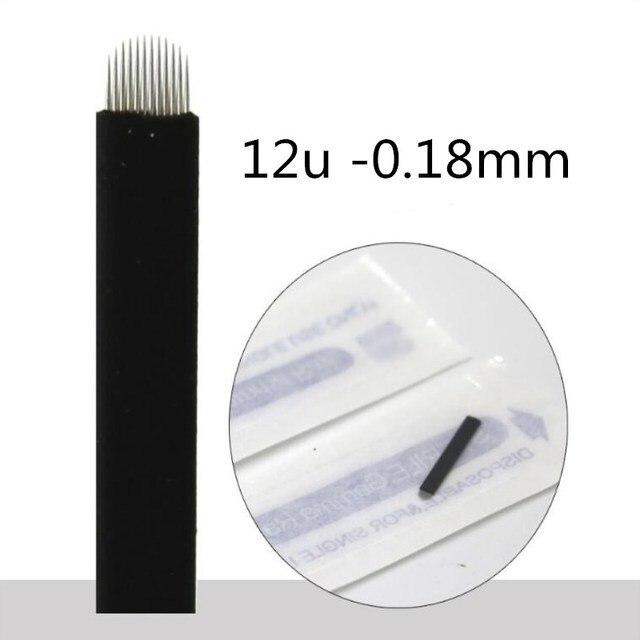 500 Pcs 0.18mm Flex Nano Laminas Microblading Tebori Agulha 12/14/18 U Shape Needle for Tattoo Eyebrow Microblading Blades Black