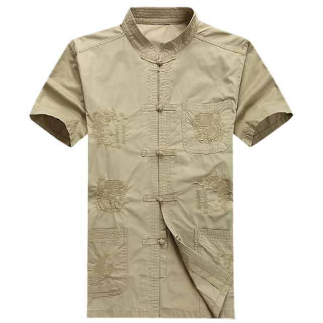 Cáqui Camisas Dos Homens do Algodão de Manga Curta Camisas de Vestido de Verão 2016 Gola Mandarim Camisa Plus Size dos homens de Impressão Dragão Chinês camisas