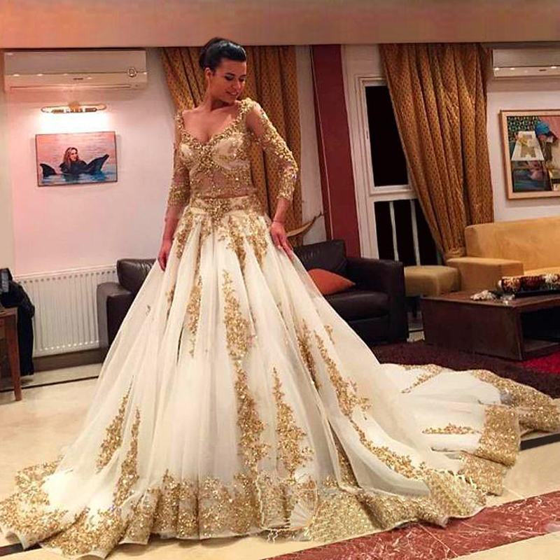 African Traditional 2017 Wedding Dresses Gold Applique Formal Long ...