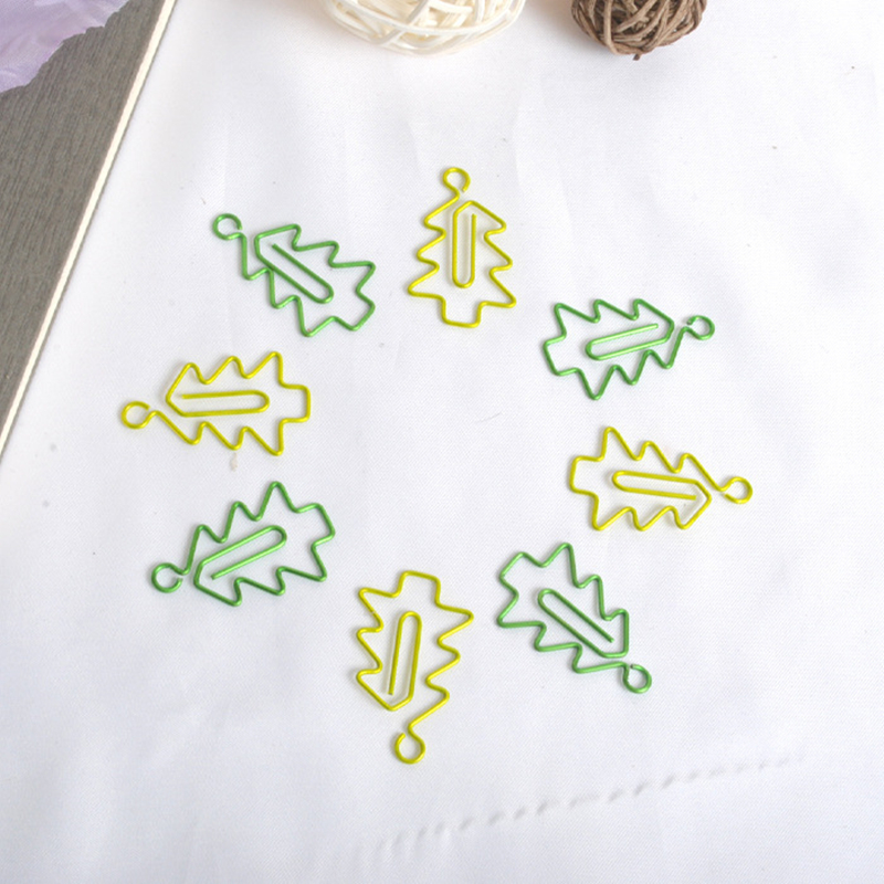 1sets(6pcs)Metal Christmas tree Shape Paper Clips green Color Funny Kawaii Bookmark Offi ...