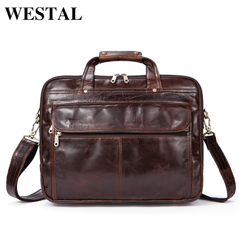 WESTAL Briefcases Men Handbag Genuine Leather men bag Business bags Vintage Leather Briefcases Men Messenger Laptop Bag 9056 yupinxuan genuine leather briefcases men real leather messenger bags business laptop bag lawyer brief cases maletin chile