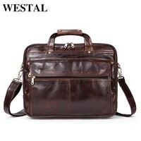 Westal Мужские Портфели Для мужчин сумки Пояса из натуральной кожи Для мужчин сумка Бизнес сумки Винтаж кожа Мужские Портфели Для мужчин сумку