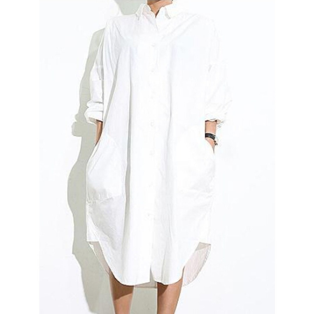 Long white womens shirt custom shirt Women s long sleeve shirt dress