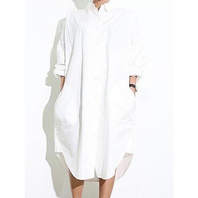 2017 Spring Women White Collar Asymmetric Hem Side Split