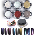 6 Colors/Set Glitter Powder Mirror Chrome Effect Dust Magic Shimmer Shinning Nails Beauty Polish Nail Art Decorations