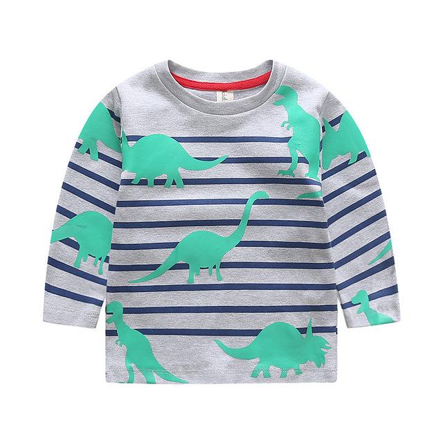 2017 Nueva Caída Rayas Dinosaurio Camisetas para Niños Niñas Otoño camiseta del bebé tee camiseta de los niños ropa 2 de 7 años roupas infantis menino