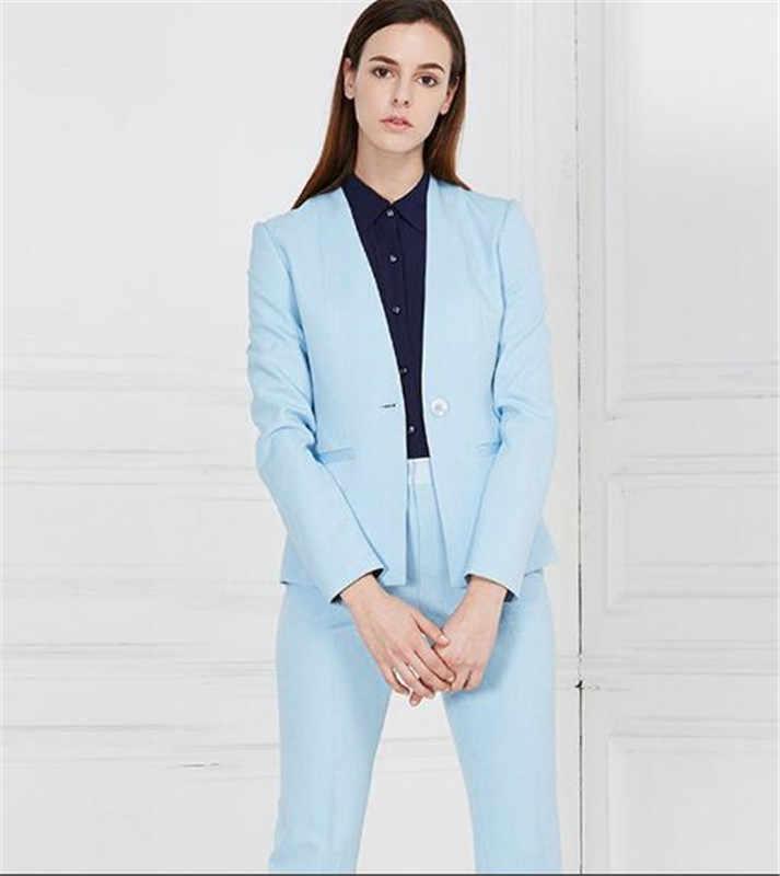 Traje De Pantalon De Negocios Azul Para Mujer Traje De Pantalon De Talla Grande Blazer Y Pantalones Para Trabajo Traje Para Fiesta De Boda Trajes De Pantalon Aliexpress
