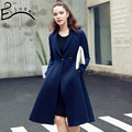 Europe in the autumn of 2016 the new fashion style in the long slim single breasted coat lapel color    v335