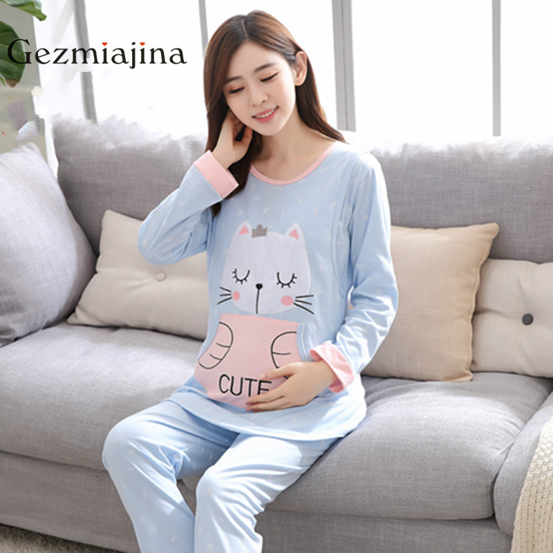 2018 New Maternity Sleepwear Nursing Wear Cotton Maternity Breast-feeding Cartoon Pajamas Long Sleeves Pregnant Women Sets