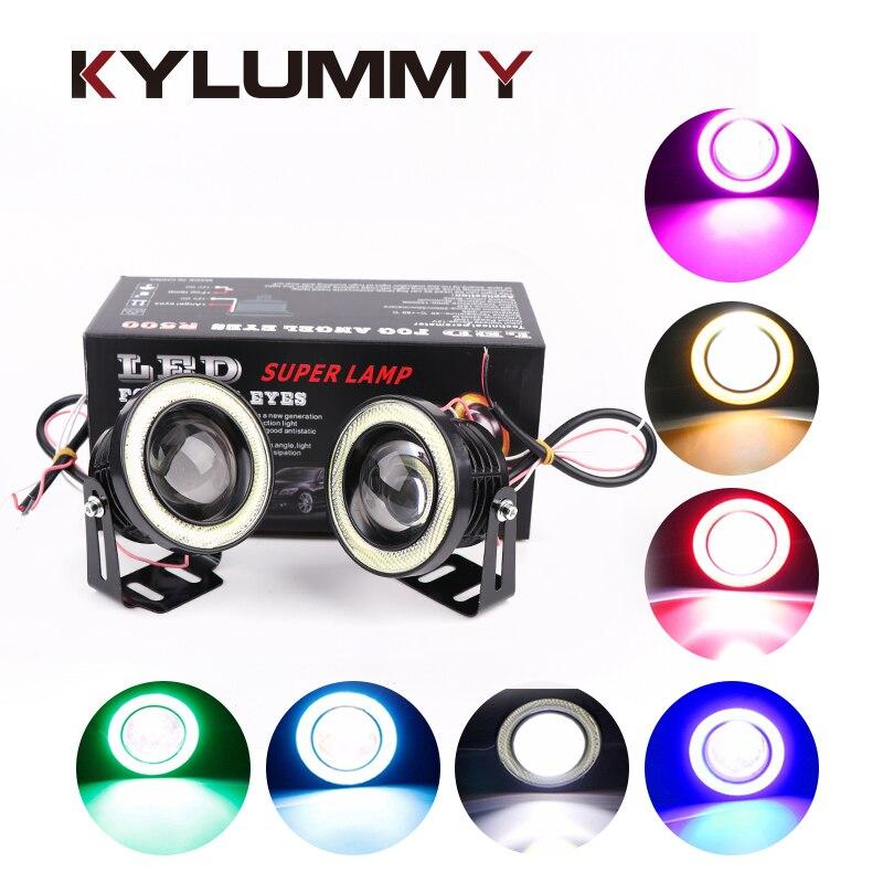KYLUMMY Auto LED Nebel Lichter Engel Augen Tagfahrlicht R500 2,5/3,0/3,5 zoll Objektiv DRL COB LED 7 Farben Motorrad scheinwerfer