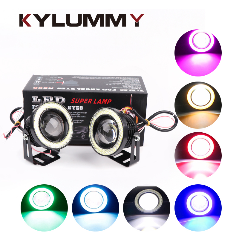KYLUMMY Car LED Fog Lights Angel Eyes Daytime Running Lights R500 2.5/3.0/3.5 Inch Lens DRL COB LED 7 Colors Motocycle headlight 3 5 inch car universal 1200lm cob led angel eyes fog lamp w lens auto drl driving light daytime running lights white headlight