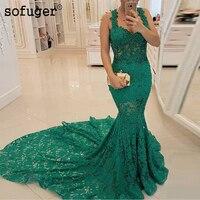 Long Green Evening Dress 2019 Sleeveless Lace Formal Dresses Mermaid Prom Dress robe de soiree Sofuge