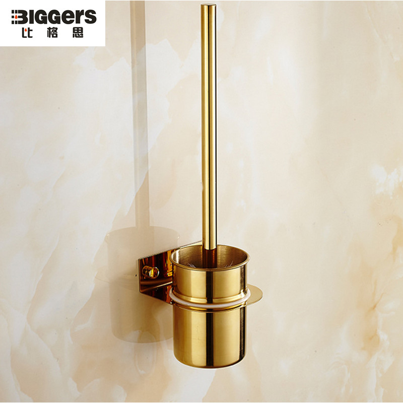 Free Shipping Luxury Gold Plated 304 Stainless Steel Bathroom Toilet Brush Holder Wall Hanging TBH32 Escobilla De Bano