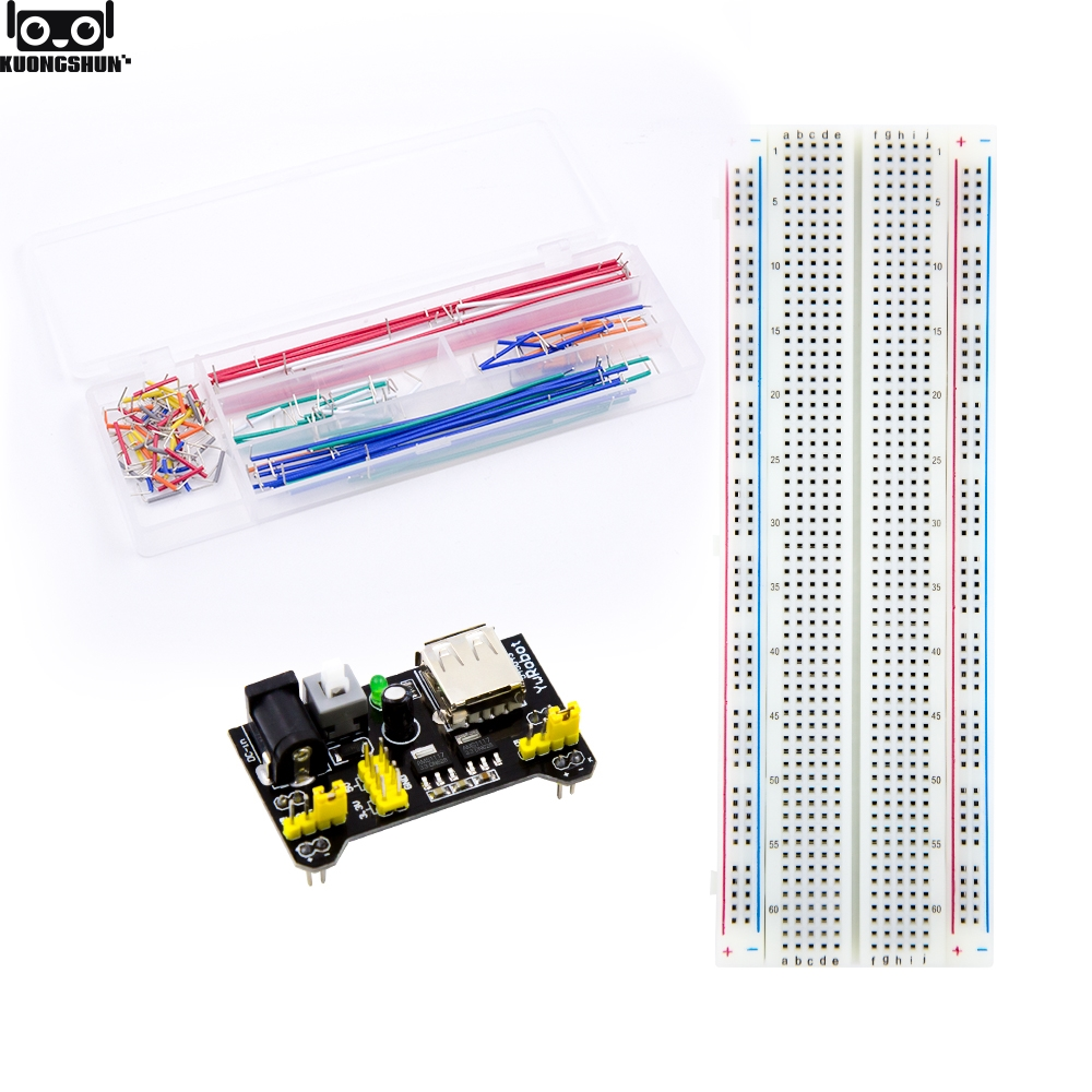 Electronics fun Kit Power Supply Module, Jumper Wire, 830 Breadboard Starter Kit for Arduino
