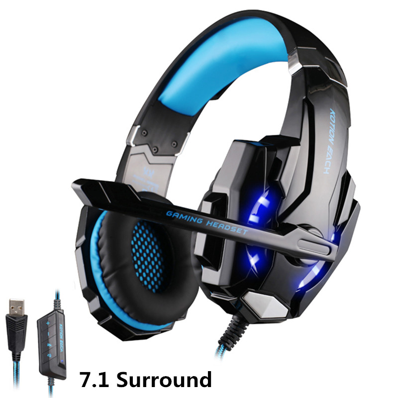 KOTION EACH G9000 Pro Gaming Headphone Gamer BASS Earphone with Mic LED Light 7.1 Surround Sound Casque for PC Headsets airpods each g1100 shake e sports gaming mic led light headset headphone casque with 7 1 heavy bass surround sound for pc gamer