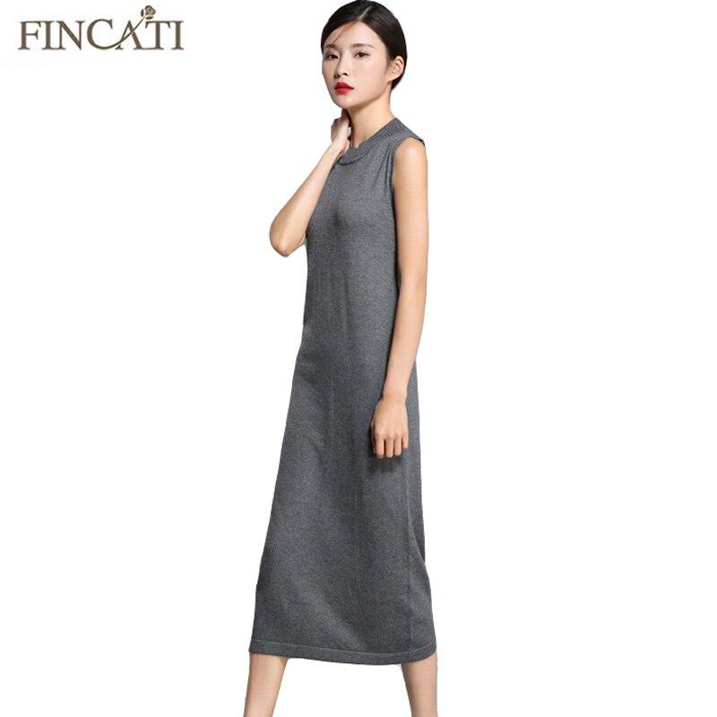 Women Sweater Dress Fincati 2018 Spring New Arrival Wool Cashmere Ankle-length Elastic Slim Sleeveless Vest Tank Casual Dresses