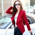 2017 Novas Mulheres Blazers e Jaquetas Femininas Casaco Fino Coreano estilo de Manga Comprida Feminina Desgaste do Trabalho feminino Blazer Plus Size S-2XL