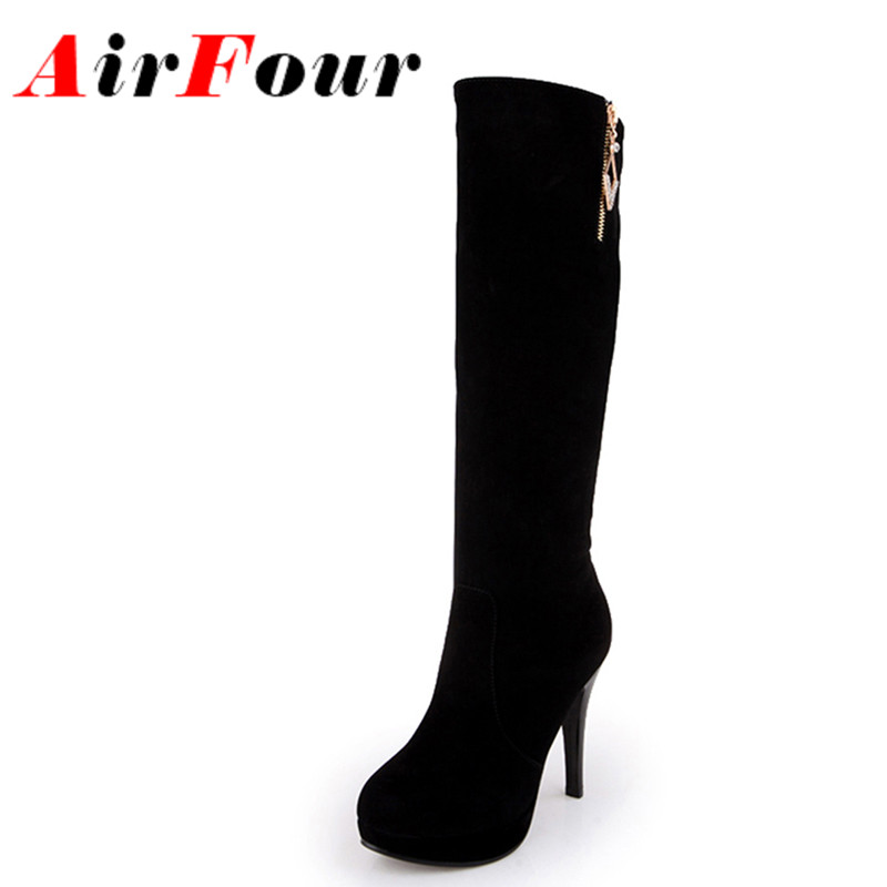 ФОТО Airfour Winter Warm Long Boots for Women Mid-Claf Flock Slip-On Charm Thin High Heels Solid Women Shoes Classic Black Shoes