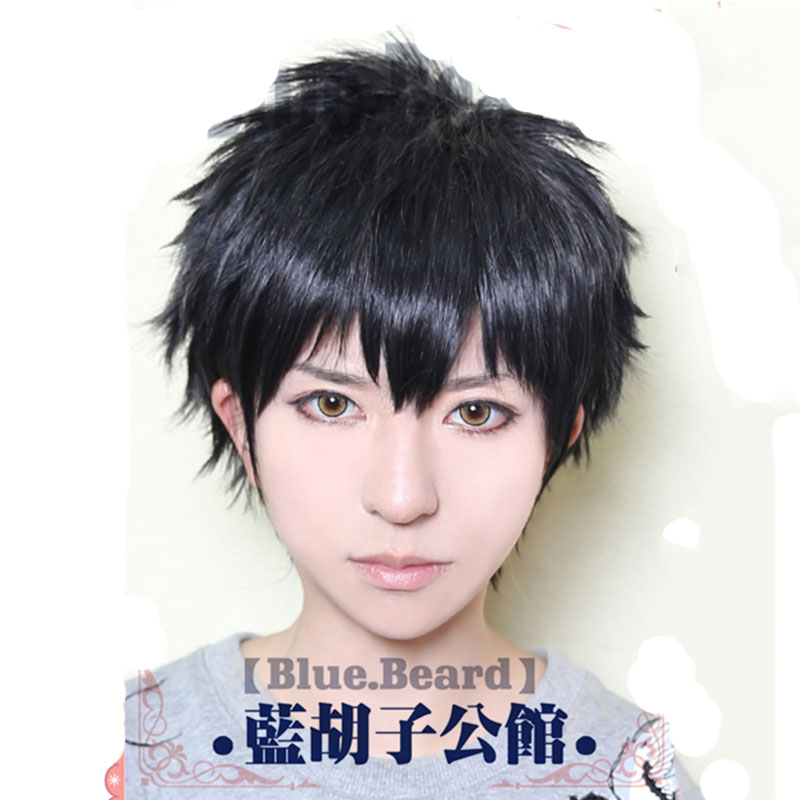 Harajuku Anime Cosplay Wigs Cheap Touken Ranbu Online Short Black Wig Doutanukimasakuni Heat Resistant Synthetic Hair - HangZhou BOBO Co., Ltd store