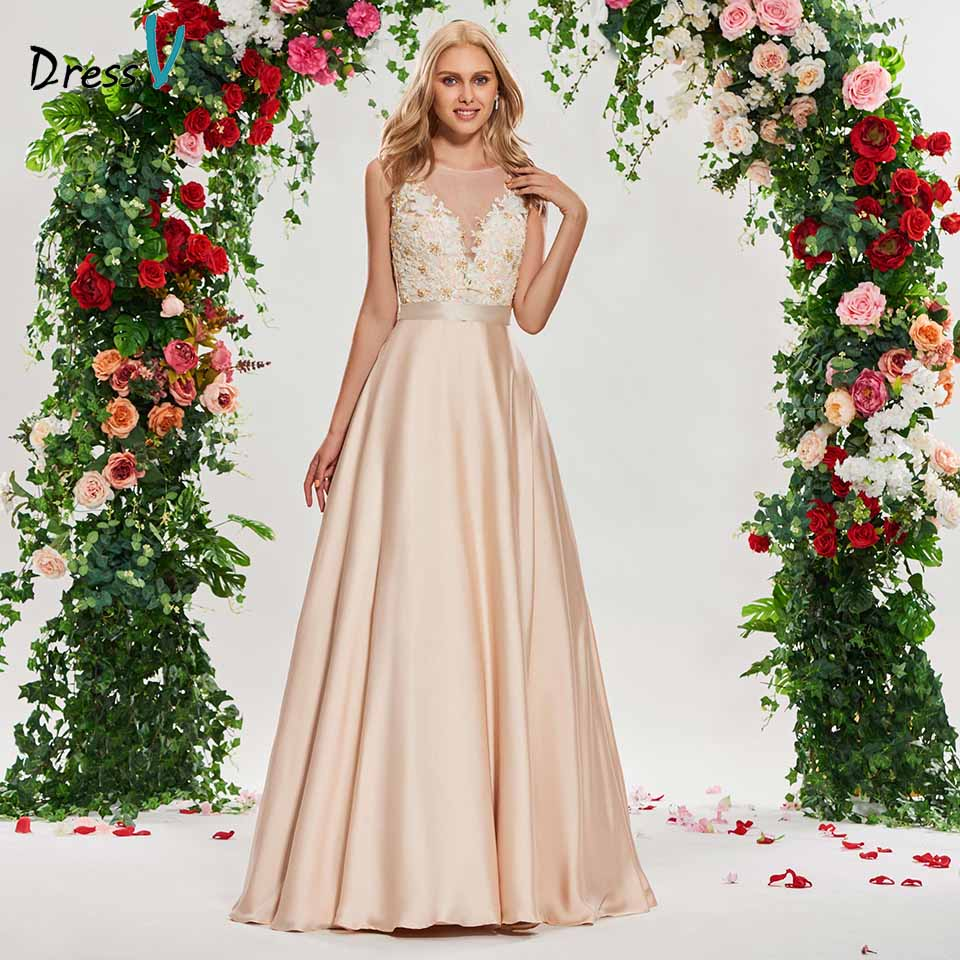Dressv scoop neck wedding dress a line sleeveless beading button appliques floor length bridal outdoor&church wedding dresses