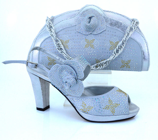 Silver Platform Chunky High Heels Italian Shoes And Matching Bags For Women, Party And Wedding 887f590610
