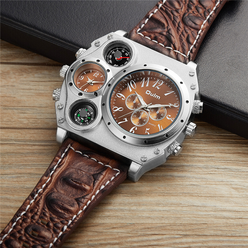 3c7a3094c92 Oulm Grandes Homens Relógios Marca De Luxo Masculino Relógio de Quartzo dos homens  Duplo Fuso Horário de Couro Esporte Relógio De Pulso reloj hombre grande ...