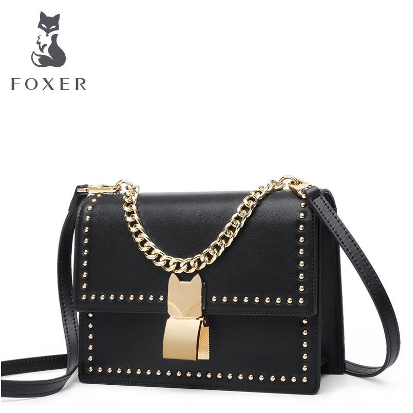 FOXER2018 luxury fashion high-end new Korean rivet mini small square package simple wild portable shoulder bag