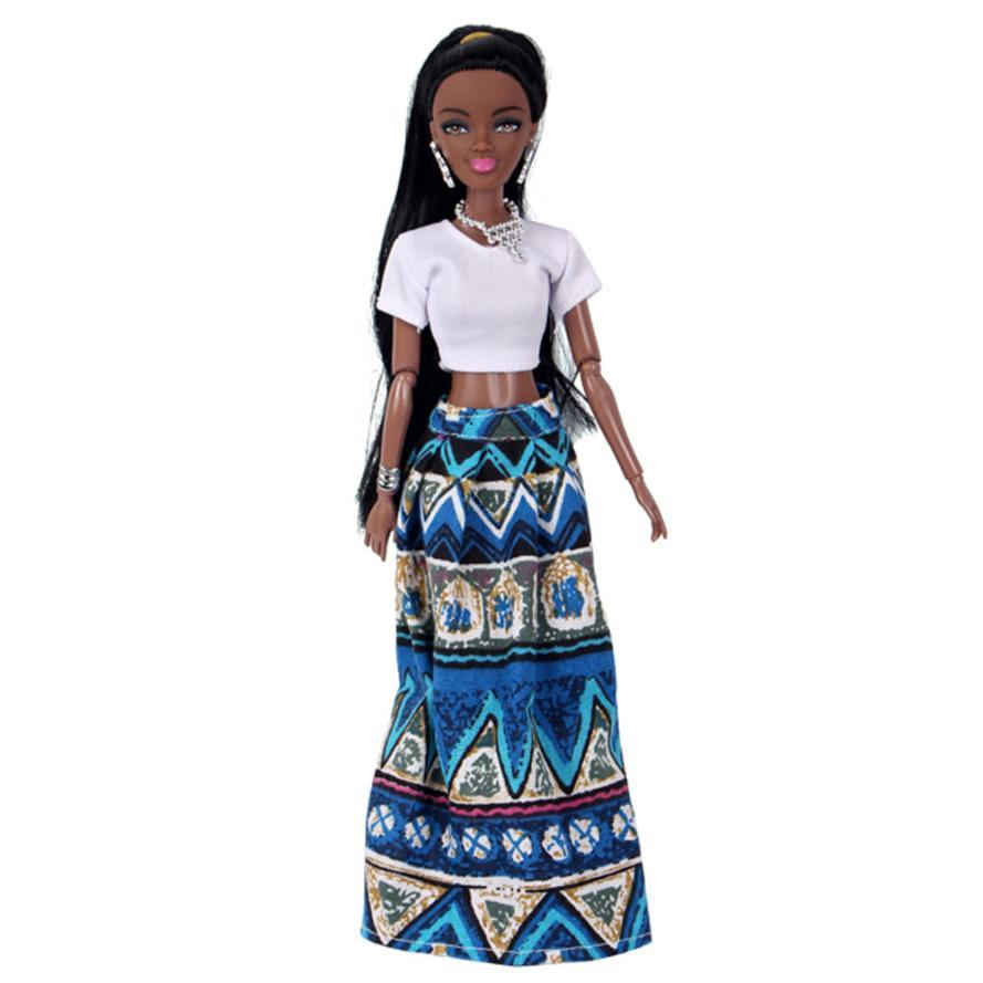 Baby Dolls For Girls Baby Movable Joint African Doll Toy Black Doll Best Gift Toy D50