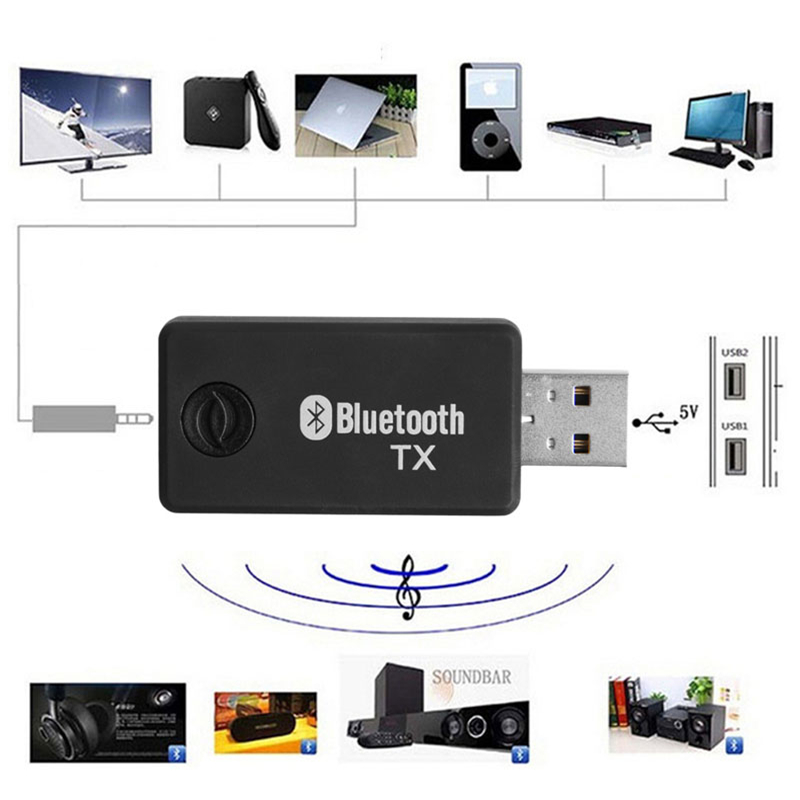 OOTDTY New Hot Mini 5V 3.5mm USB Bluetooth Stereo Audio Music Transmitter Adapter for TV MP3 PC