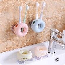 Cute doughnut Toothbrush Holder Bathroom wall mounted sucktion Cup Tooth brush set 4 holes Organizer Donut design