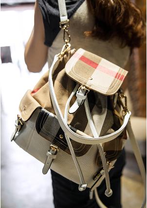 Prix pour 2014 Nouvelle Arrivée Femmes De Mode Plaid Sacs À Dos de Voyage Décoration Avec Ceinture Blanc sacs à dos En Cuir Beige Livraison Gratuite