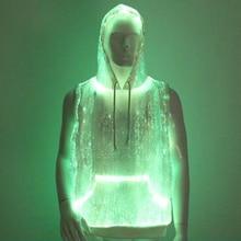 Fashion LED Tank Top luminous Men s hoodie RGB light up t shirt with hood casual