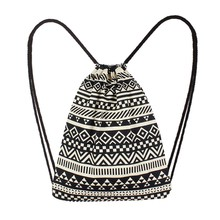 Fashion Women Canvas Ethnic Wind Pocket Drawstring Bag Backpack Student School Drawstring Book Bag Shoe Backpack #xqx