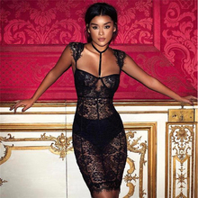 Black lace openwork bodycon dress