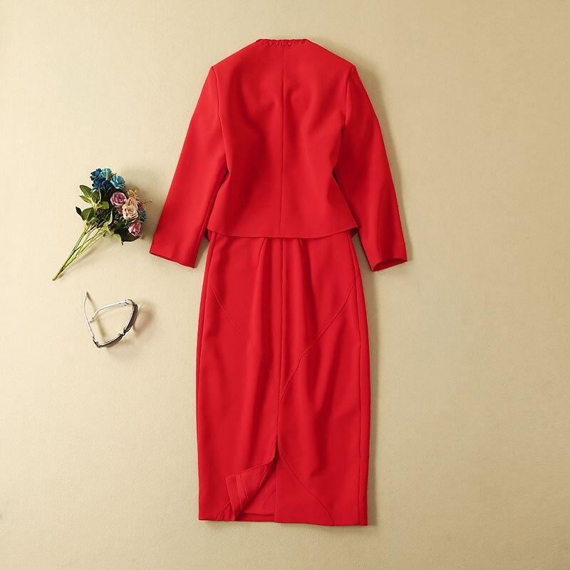 Top Grade Designer vêtements costumes automne ensembles femmes croix chaîne Cardigan vestes + sans manches moulante robe crayon rouge blanc dame - 3