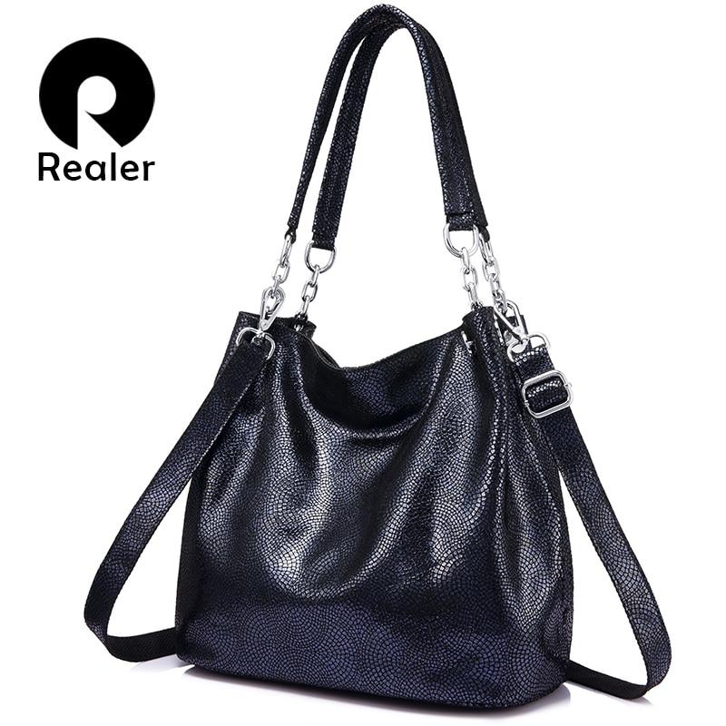 REALER women shoulder bag handbags genuine leather 2018 crossbody female bag fashion ladies totes for women