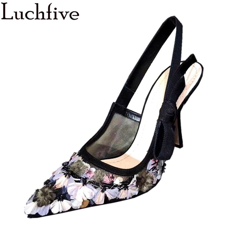 Luchfive Embroider Feather Flowers Sandals Women Fashion High Heels Runway Genuine Leather Butterfly-knot Slingbacks Shoes WomanLuchfive Embroider Feather Flowers Sandals Women Fashion High Heels Runway Genuine Leather Butterfly-knot Slingbacks Shoes Woman