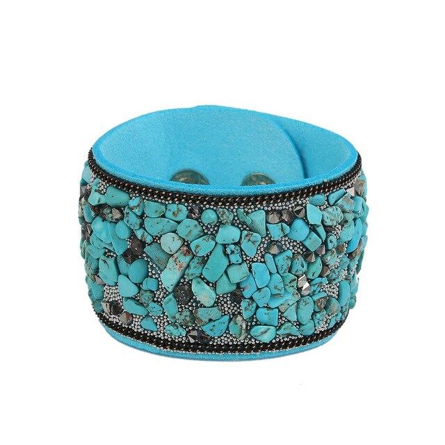 8SEASONS Hot Fashion Druzy Vintage Width Natural Stone Bracelets for Women Men P