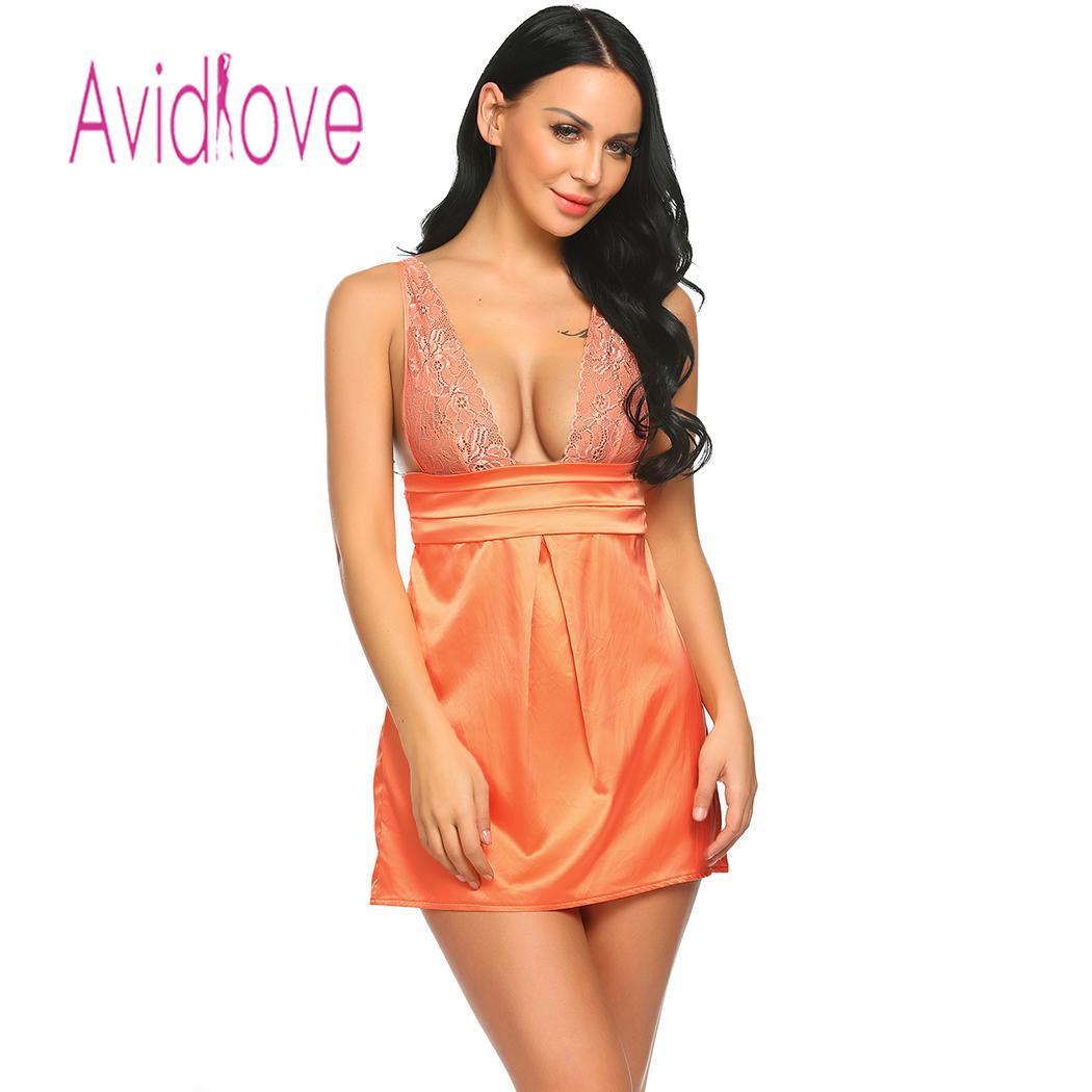 Avidlove Women Night Dress Sleepwear Patchwork Spaghetti Strap V Neck Lace Backless Mini Sleepdress Nightwear