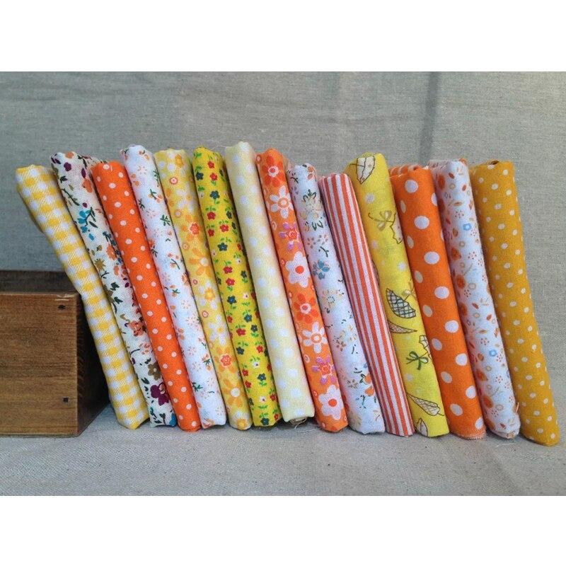 ٩(^‿^)۶15 unids/lote, 100% algodón llano amarillo impreso serie ...