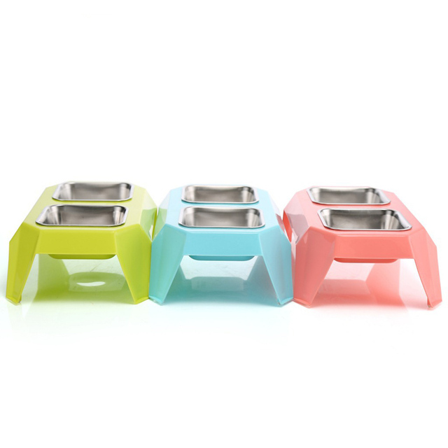 3 Colors Pet Dog Double Bowl Feeder Plastic+Stainless Steel Diner Cat Feeding Bowl 33*18.8*9.6cm